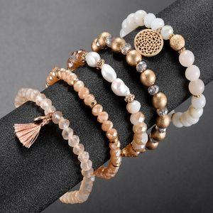 Мода кристалл бисера Упругие браслет Женщины Девушки Популярные Грановитая стекла Pearl Beads кисточкой браслет ручной работы подарка ювелирных изделий