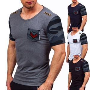 Diseñador camisetas de la moda de fitness para hombre camisetas Verano O-Cuello corto de camuflaje para hombre flaco manga Tops Casual Male