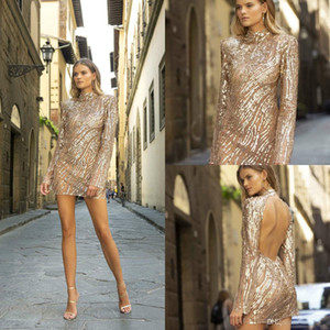 Berta 2020 Champagne Short Prom Dresses High Collar Sequins Backless Long Sleeve Evening Gowns Custom Made Short Cocktail Dress Party Wear