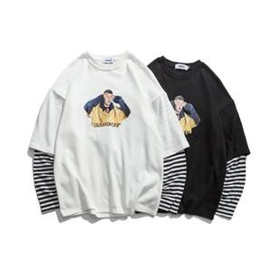 Designer-Luxus-Pullover T-Shirt Langarm-Patchwork-Shirts für Herren lustige Print casual Streifen T-Shirt