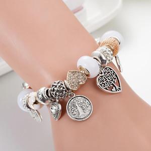 Moda Charm Bracelet 925 Pandor Pulseiras para mulheres vida Árvore Pendant Bangle Charme Pandora Amor Bead como presente DIY jóias com logotipo