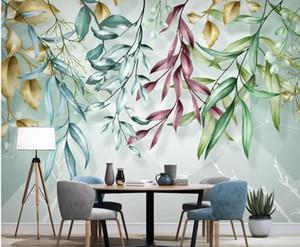 Nordic Tropical Wallpaper Watercolor Leaf Mural Hand Painted Mural Creative 3D Wall Paper Geometric Murals Contact Paper Custom
