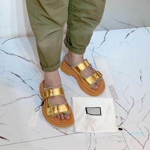 Top grade luxury fashion women designer shoes silver gold metal leather slides white cowskin real leather platform designer sandals ct1