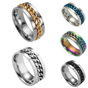 Los productos que Huitan creativo cadena del diseño de los hombres anillo con micro pavimentado Destino Enlace pares del anillo Para GirlfriendBoyfriend Selling # 860