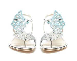 Hot-sale sophia webster mujeres chanclas alas de ángel tanga zapatos casuales de cristal mariposa plana sandalias de las mujeres talones sandalias de vestir