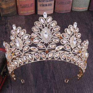 Büyük Gelin Taçlar Lüks Kristalleri Prenses Düğün Gelin Tiara Taç Saç Aksesuarları Gelin Gümüş Prom Parti Rose Gold Mavi Kırmızı