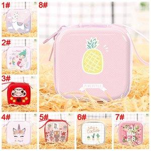 Çocuklar Karikatür Baskılı Küçük Şeker Çanta Para Değişim Cüzdan 8 Renkler Mini Coin Çanta Taşınabilir Kare Küçük Cüzdan Kulaklık Çantası BH0133 TQQ