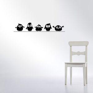 Carino da 5 Little Birds sul filo Wall Stickers porte Adesivi per Animal Cartoon Kids Room Living Room Art decalcomanie in vinile impermeabile