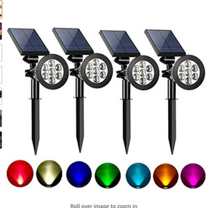 Solar Spot Lights Outdoor 2-in-1 Colored Adjustable 7 LED Waterproof Security Tree Spotlights Lawn Step Walkway Garden (4 Pack)