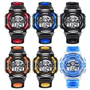 los niños muchachas de los muchachos del deporte LED Digital estudiantes de moda niños del reloj de la luz COOLBOSS multifunción hasta 7 colores reloj electrónico