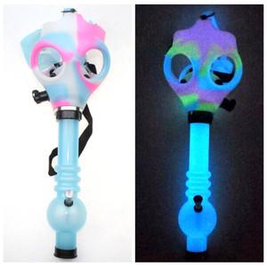 Gaz Boru Sillicone Nargile Tütün Tüpler Ücretsiz Kargo Toptan Maske Sigara Dark Water Shisha akrilik Bong İkisi Glow Maske