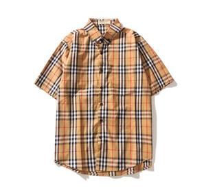 Camisas de vestir de diseñador para hombre Camisa clásica de lujo de celosía Patineta casual T Shirte Estampado de alfabeto hip hop Camisas Streetwear