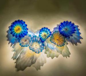 الزرقاء الزجاج الملون مصابيح الحائط الحديثة يدوية زجاج مورانو ستريت الإضاءة الشمال المستخلص الجدار الزجاجي أضواء الفن شحن مجاني