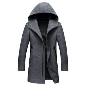 Mens lungo incappucciato di lana Trench 2018 New Winter casuale di lana con cappuccio Trench Slim Fit Zipper Uomini Windbreaker Pea Coat 3XL