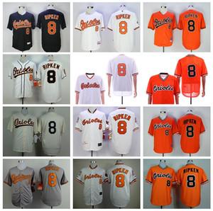 Hommes Vintage Baseball 8 Cal Ripken Jr Jersey Retire 1954 1970 1982 1989 2001 Flexbase Rafraîchissez base Pull équipe Noir Orange Blanc Gris