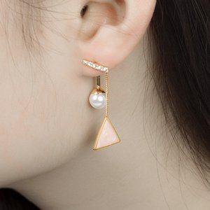 20pcs Lot Fashion Word Pearl Earring Triangle Diamond Oil Drip Ear Drop For Ladies Geometric After Hanging Ear Stud Jewelry Accessories