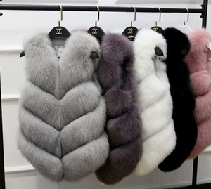 Tasarımcı Katı Dış Giyim Kış Kadın Faux Fur Vset Lüks Bayan Moda Kasetli İnce Kolsuz Coat Womens