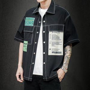 Black Green Korea Style Short Sleeves Casual Men Shirt 2020 For Summer Clothes HIP HOP PUNK Streetwear