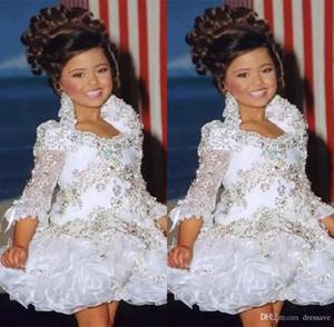 Glitz Pageant abiti per ragazze Little Girl Compleanno abiti maniche 3/4 Perline di cristallo Flower Girl Dress strass increspature Cupcake