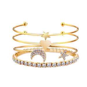 Hot Fashion Jewelry Bracelet Set Gold Silver Arrow Love Star Moon Rhinstone Bracelet Bangle Cuff S350
