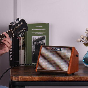 AROMA AG-15A 15W Portable Acoustic Guitar Amplifier Amp BT Speaker Built-in Rechargeable Battery with Microphone Interface