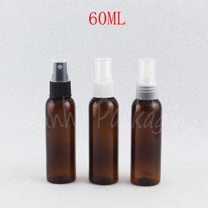 Garrafa 60ml Brown plástico com pulverizador da bomba, 60cc Cosmetic água / Toner Bottle embalagem, Esvaziar recipiente cosmético