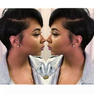Short Human Pixie вырезать Side U часть немного фронта шнурок волосы парики для женщин Черного Glueless Короткого Боба Capless парик