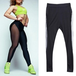 2019 Hot Mesh Cotton Fashion Casual Women Workout High Waist Pants Spliced Trousers Clothing