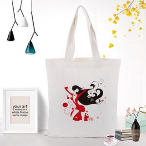 Illustration Girl Custom Tote Bag Shopping Text Ecologicas Eco DIY Daily Print Canvas Recycle Reusable Use Handbag Jcaru