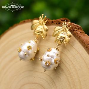 Glseevo التصميم الأصلي قذيفة الطبيعية الخرز إسقاط أقراط للنساء هدية النحل تتدلى الأقراط الفاخرة غرامة مجوهرات Ge0665 J190703