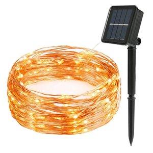 Solar Powered s 12M 100LED alambre de cobre colores para la Navidad jardín Hogar Decoración