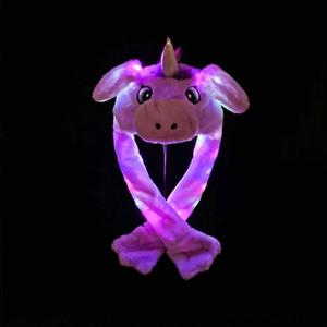 Işık Şapka İçin Çocuk Çocuk Yetişkin Noel Partisi kap LJJA3376 Hareketli Led Peluş Tavşan Kulakları Cap Karikatür Kedi Hava Yastığı şapkalar Nakış Bunny Kulak