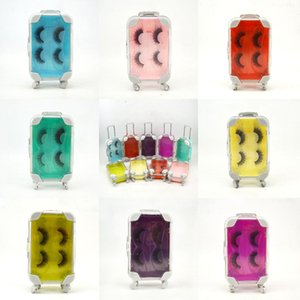 Falso Falso Cílios 3D sintética Lashes com bagagem cílios mala mink cílios embalagem reutilizável cílios postiços 2pair 1set KKA7832
