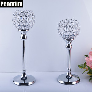 PEANDIM Wedding Centerpieces Candelabra Parties Decorations K9 Crystal Candlestick Shiny Silver Candle Holders For Home Decor