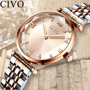CIVO Fashion Luxury Crystal Watches Ladies Waterproof Steel Strap Women Quartz Watches Top Brand Crystal Diamond For Women Clock