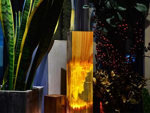 toptan ahşap masa lambası epoksi reçinesi ahşap sanat ışığı kat açık ceviz ve çam odunu Alman kavak aydınlatma şeffaf sıcak jeli