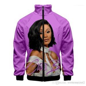 Sweaahirts женщин людей Unisex Стенд Воротник Мода Cacual Длинные рукава одежды Cardi B 3D печать Личность Zipper
