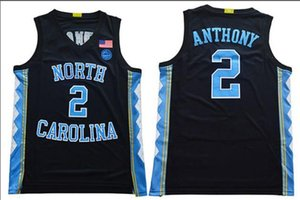 Vintage Мужчины UNC Tarheels # 2 Коул Энтони синий белый черный Полное вышивка баскетбол Джерси Размер S-3XL или обычая любое имя или номер джерси