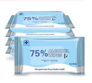 10шт Дезинфицирующие салфетки Портативный Антибактериальные влажные салфетки с 75% Этанол Алкоголь Одноразовые стерилизующего Влажные салфетки
