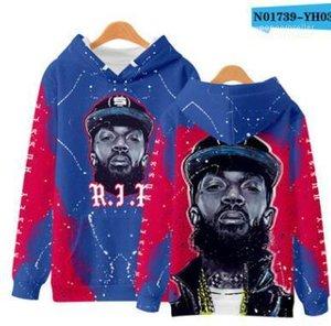 Дизайнерские кофты с рукавами 3D Mens Nipsey Hussle Hoodie Fashion Casual Hooded R. I. P стильные пуловеры длинные