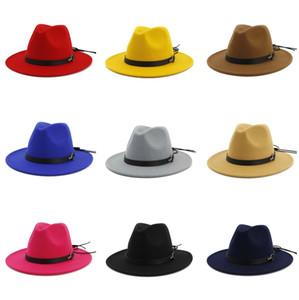 Дизайнер Luxury Женщины Женская Wool Felt Джаз Шляпы Фетровые шляпы Flat Брим фетровой Panama Cap Открытый Широкий Брим Зонт Hat для женщин
