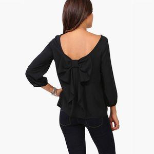 2020 Frühling und Herbst Weibliche Bluse plus Größe 5xl 6XL Hinter Tassel Bow Chiffon Langarm-Shirt Frauen-Damen süße Tops
