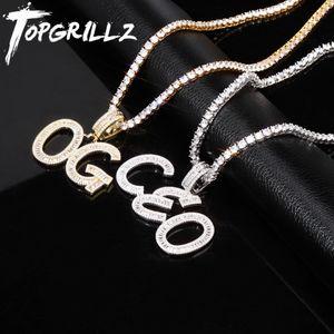 TOPGRILLZ مخصص الاسم Baguette Letters Hip Hop Pendant Chainter Gold Bling Zirconia Men's Hip Hop Pendant Jewels