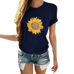 Moda Casual Summer Street girasol impresión de algodón Blended Crew cuello de manga corta floja blusas de las mujeres camiseta tops