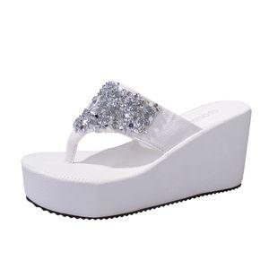 N ° 35 Pantofole donna Pantofole strass cunei di Pantofole Estate Donna Sandali Infradito Moda punta della clip Beach Shoes