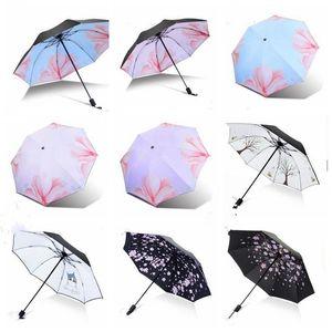 Impresión Parasol paraguas a prueba de viento grande plegable paraguas coloridos Tres plegado invertido flamenco 8Ribs suave regalo creativo LXL946Q