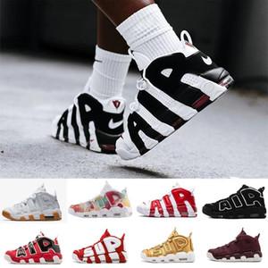 Più Uptempo Nuova 96 QS Olimpico Varsity Maroon Mens scarpe da basket 3M Scottie Pippen Chicago allenatori sportivi scarpe da tennis Taglia 40-47