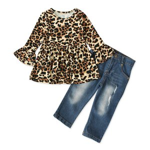 Infant 2-7Y Crianças Baby Girl alargamento manga comprida vestido de leopardo Tops + Denim Calças Jeans roupas Outfits Set 2pcs