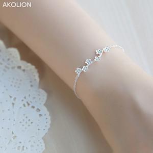 ramos da flor AKOLION Atacado prata pulseira ameixa 925 Flor do encanto de Femme Pulseiras para Mulheres ashion Jóias