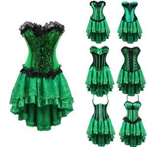 Frauen-Korsett-Rock-Satz-Verein-Partei Tanzen Outfit Grün Overbust Korsett mit gespritzter Hallo-lo Rock plus Größe S-6XL Korsett-Kleid